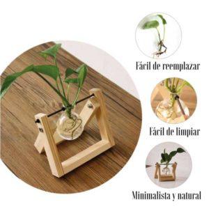 Jarrones cristal madera DIY natural - Decoplantia