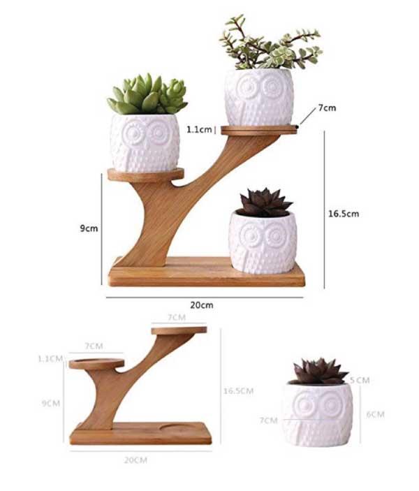 Medidas macetas búho estante madera