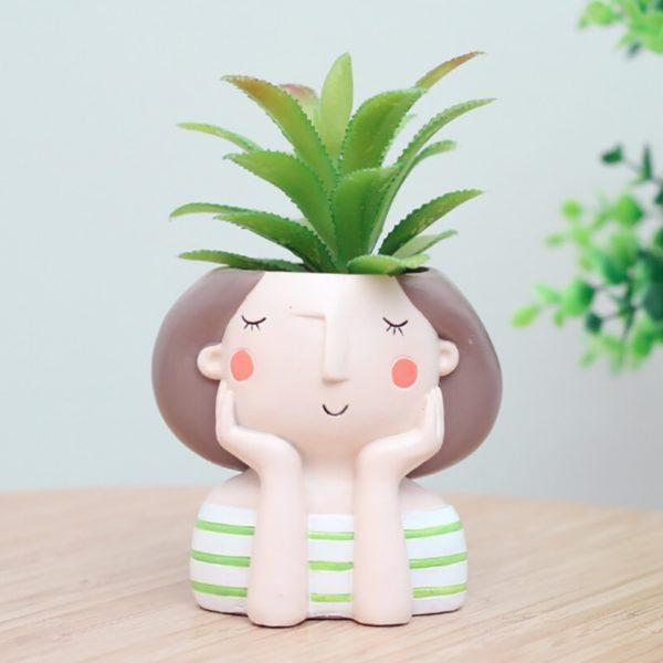 Maceta original para cactus chica soñadora rayas