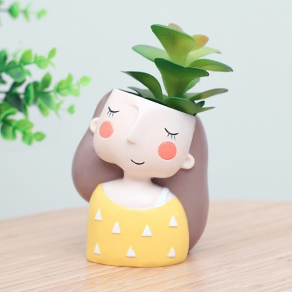 Maceta original para cactus chica soñadora amarillo