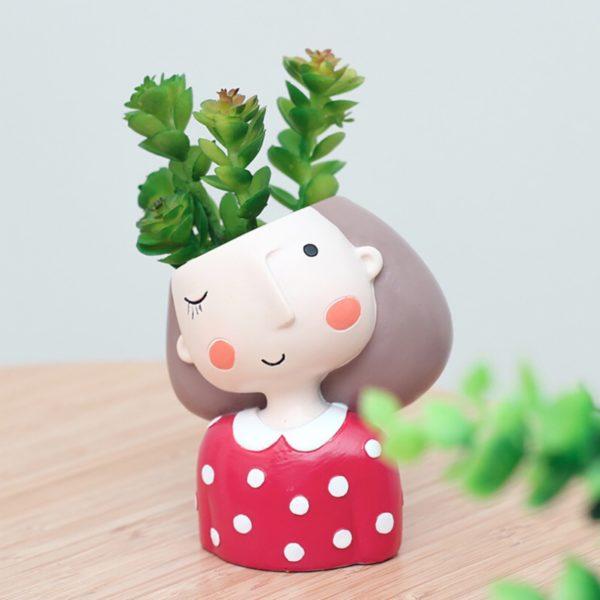 Maceta original para cactus chica soñadora rojo