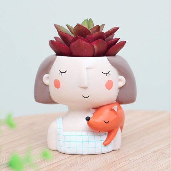 Maceta original para cactus chica soñadora animal