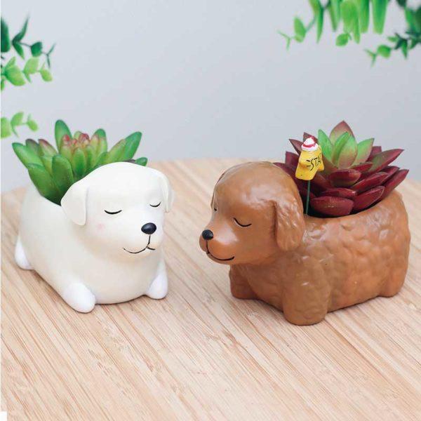Macetas perros Labrador Caniche marron