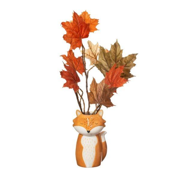 Jarrón figura animal decoración zorro hojas colores otoño Sass & Belle Decoplantia