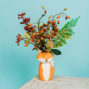 Jarrón figura zorro ramas estilo otoñal Sass & Belle Decoplantia