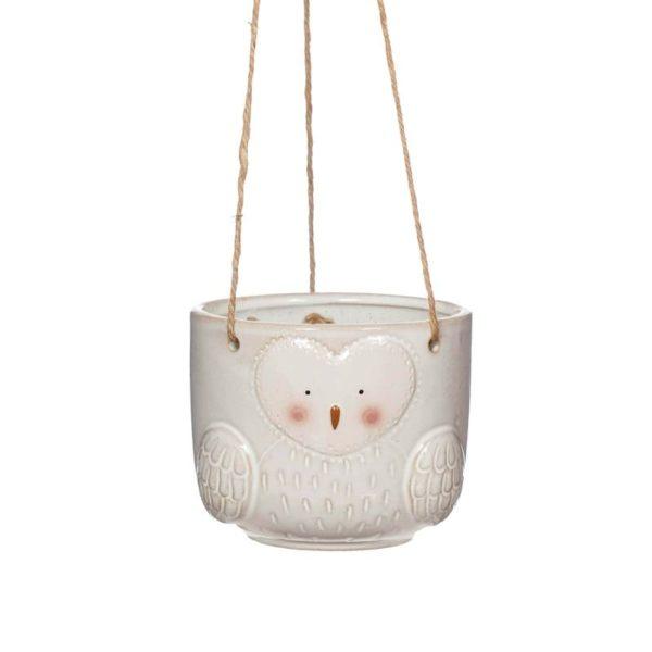 Maceta colgante diseño búho en cerámica Sass and Belle Decoplantia