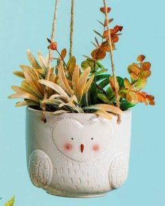 Maceta en forma de búho para colgar plantas Sass and Belle Decoplantia